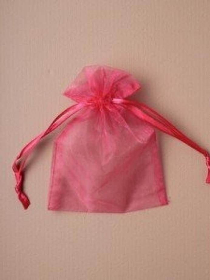 Organza Gift Bag 15 x 11cm, Fuschia Pink