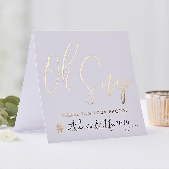 Gold Instagram Wedding Tent Cards - Gold Wedding