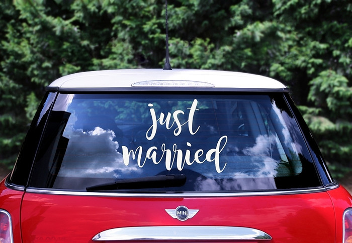 Just Married Car Sticker 33x45cm