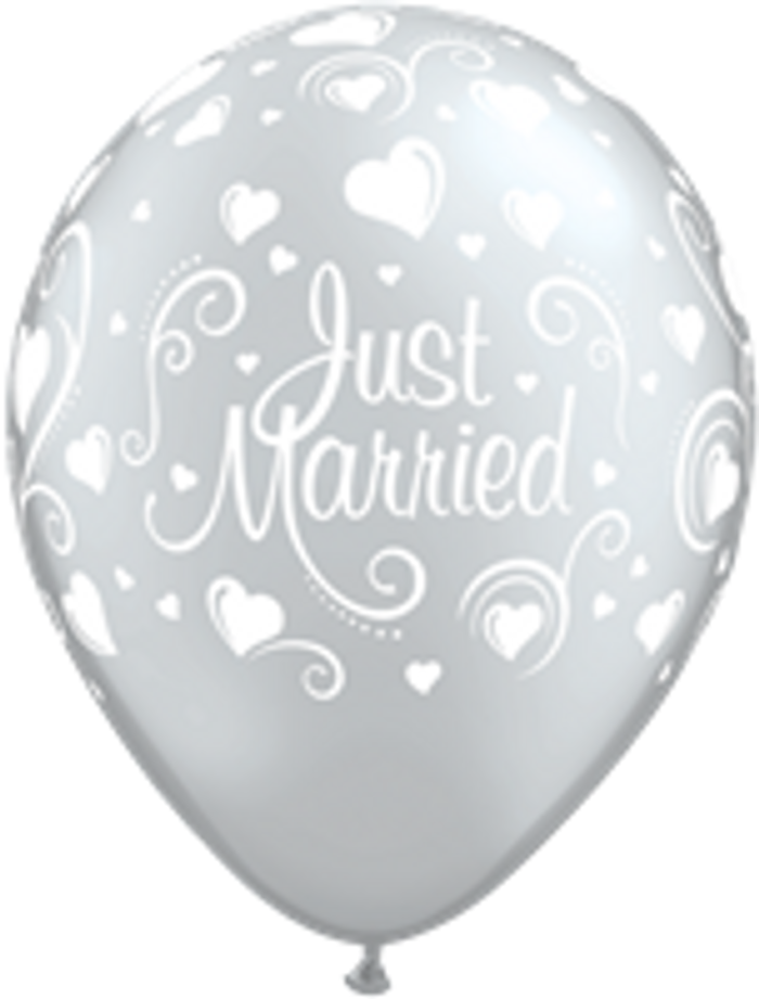 """11"""" Silver Just Married Balloons ( 6 per Pack)"""