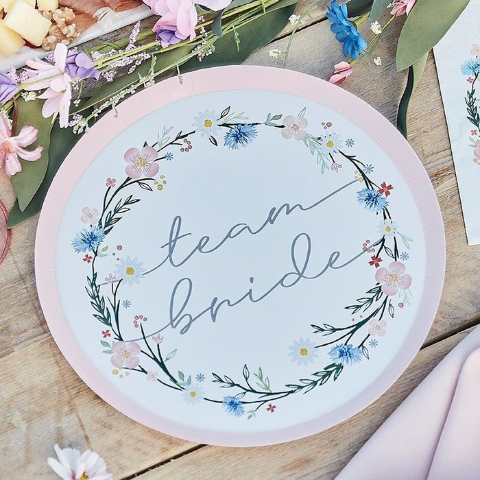 Boho Floral Hen Party Plates - 8