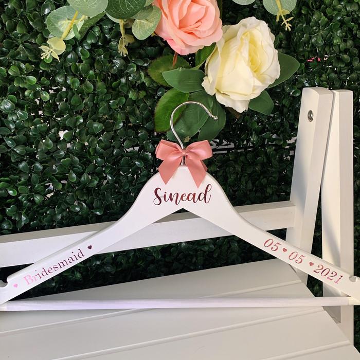 Personalised Bridal Hanger - White