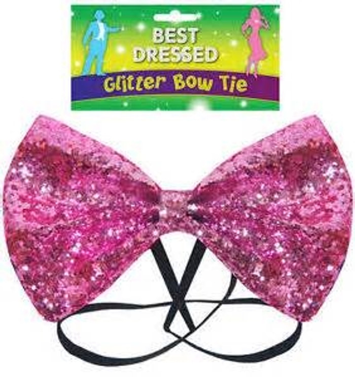Bow Tie Glitter 12 by 7cm Pink