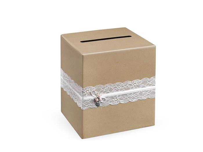 Wedding Kraft & Lace Card Box, Thank You