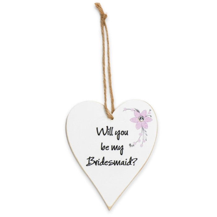 Whitewash floral wooden heart 'Will you be my bridesmaid'
