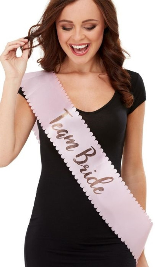 Sash, Team Bride, Pink & Rose Gold, With Scallopped Edges