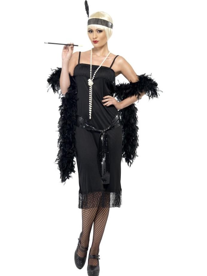 Flapper Costume, Black, with Dress, Sash & Belt