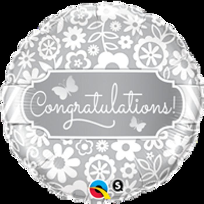 """18"""" Congratulations Silver Print Foil Balloon (1)"""