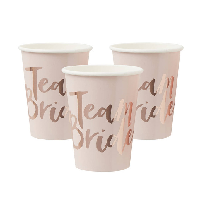 Team Bride Pink & Rose Gold Paper Cups, 8 Cups