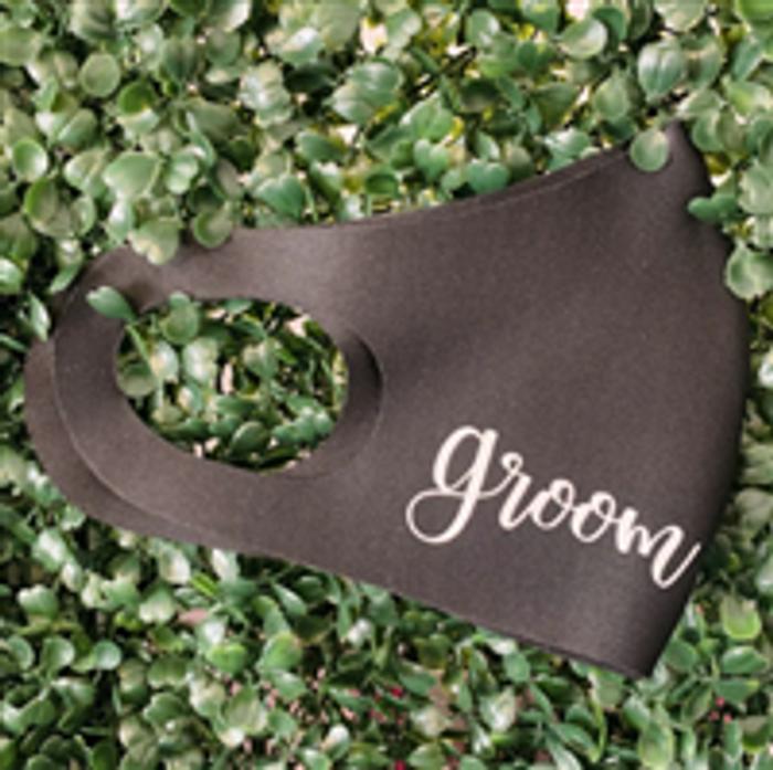 personalised black face mask wedding