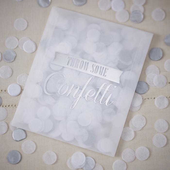 Tissue Confetti Envelopes - Silver - Vintage Affair