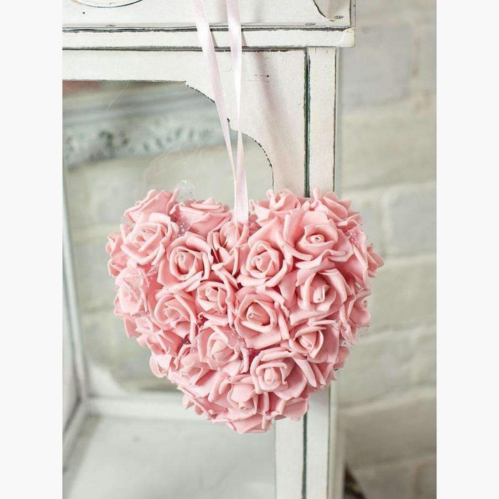 Double Sided Rose Cluster Heart, Vintage Pink