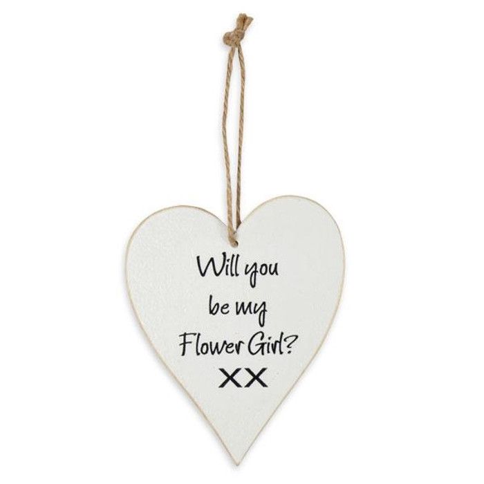 Whitewash Wooden Heart with 'Will You Be My Flower Girl?'