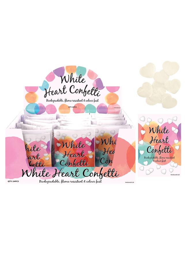 Bio Degradable White Heart Confetti