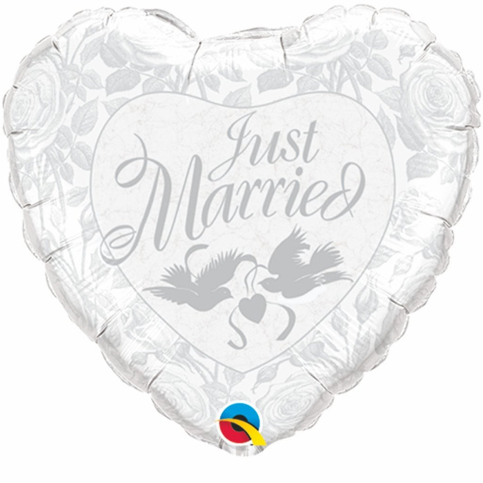 """18"""" Just Married Roses Silver Foil Balloon (1)"""