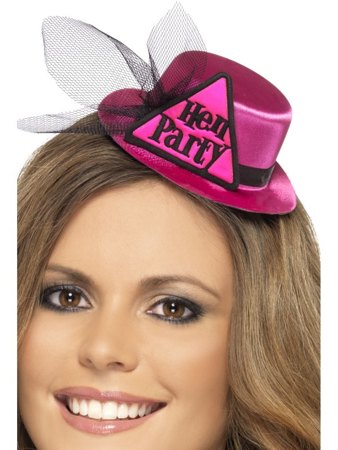 Hen Party Hat, Pink, with Hairclip and Veil