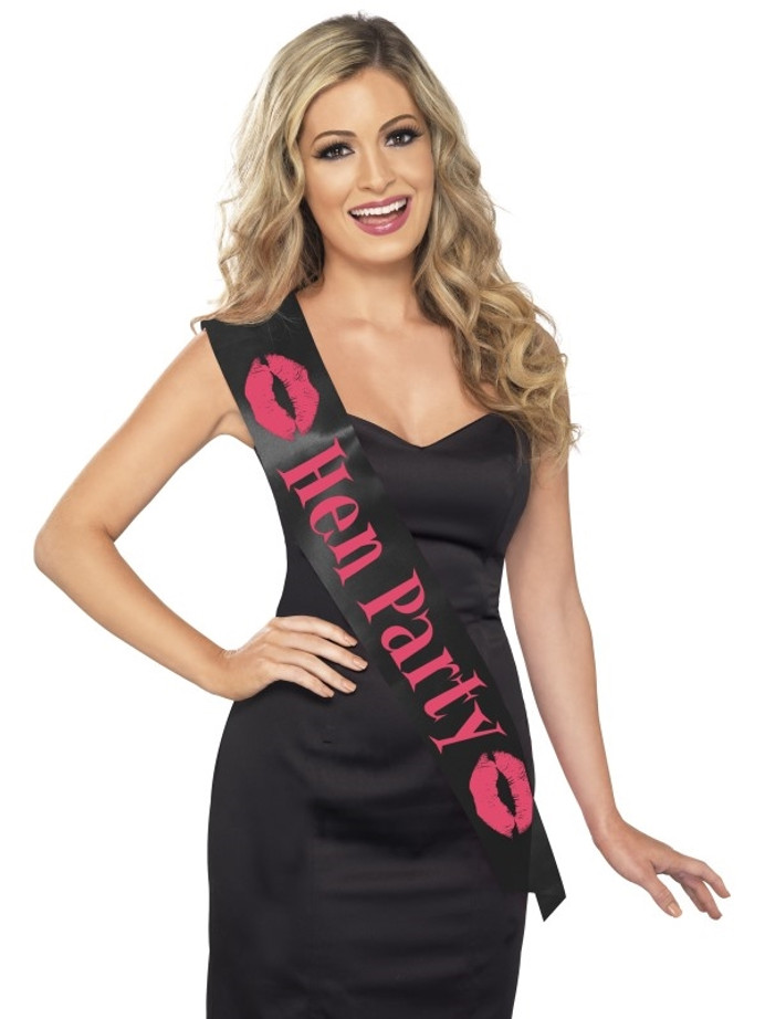 Black, with Pink Lettering, Hen Party Sash