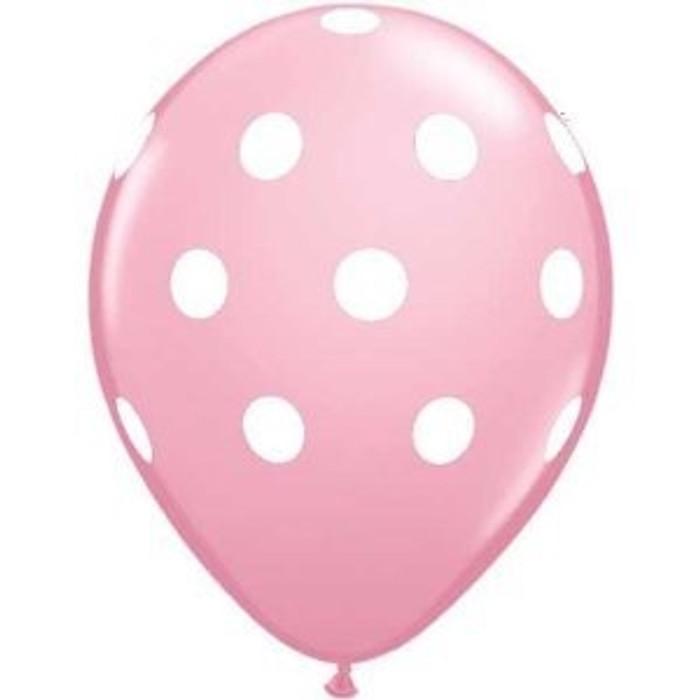 "11"" Round Polka Dot Pink Balloons (6 Pack)"