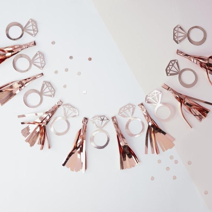 Rose Gold Foiled Ring Tassel Garland