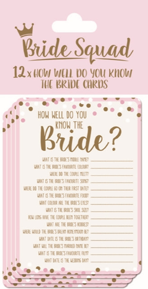 12 How Well Do You Know the Bride Cards