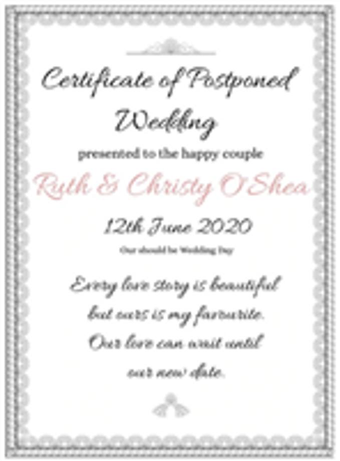 Personalised Postponed Wedding Certificate Print