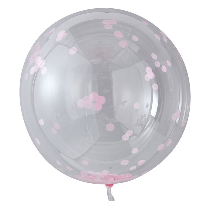 Large Pink Confetti Orb Balloons - Pick & Mix (3)