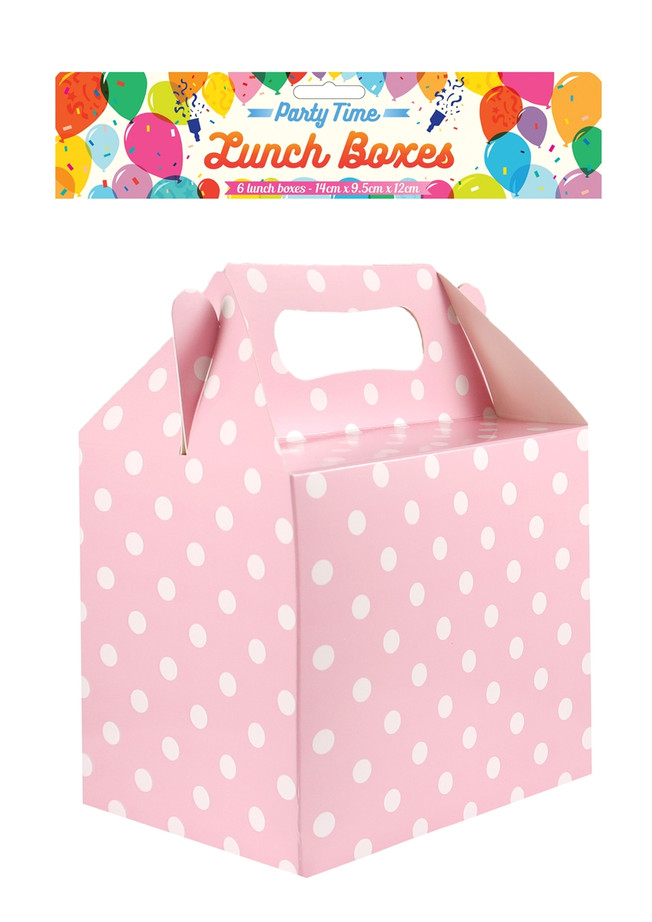 Baby Pink Party Box, (6) Polka Dot With Handles, 14x9.5x12cm