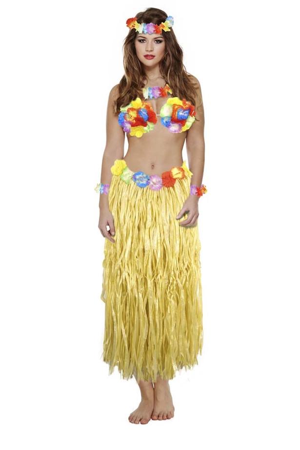 D/Up Adult Hawaiian Girl 6 Pc Set