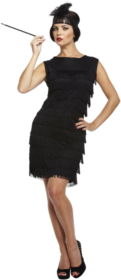 D/Up Adult Flapper Lady Black with Tassels 8-10