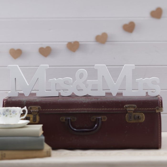 Wooden Sign - Mrs & Mrs - A Vintage Affair