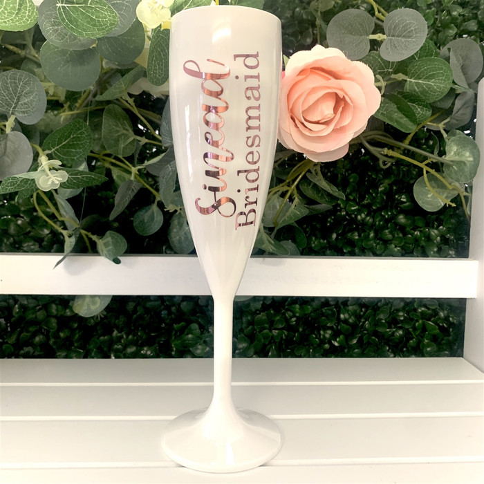 personalised white polycarbonate champagne flute