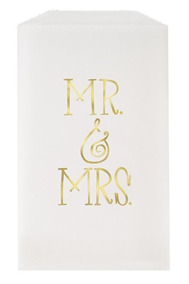 Mr & Mrs Glassine Bags White & Gold