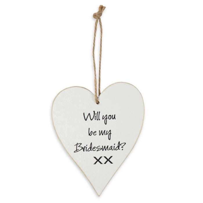 Whitewash Wooden Heart 'Will you be my bridesmaid'