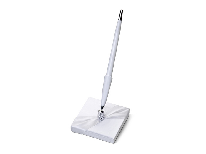 Pen Stand, White with Silver Embelishment