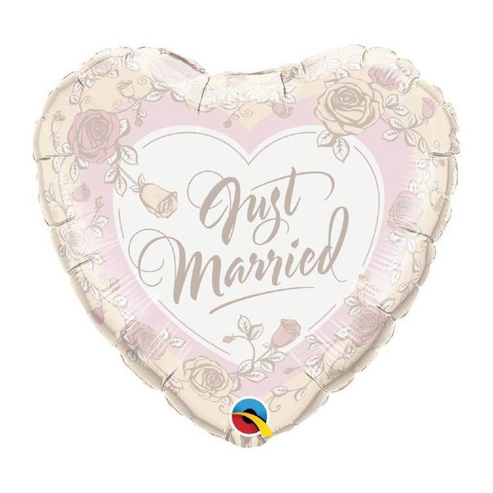 """18"""" Just Married Roses Foil Balloon (1)"""