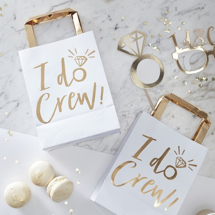 Party Bags, Gold Foiled I Do Crew, Bags (5)