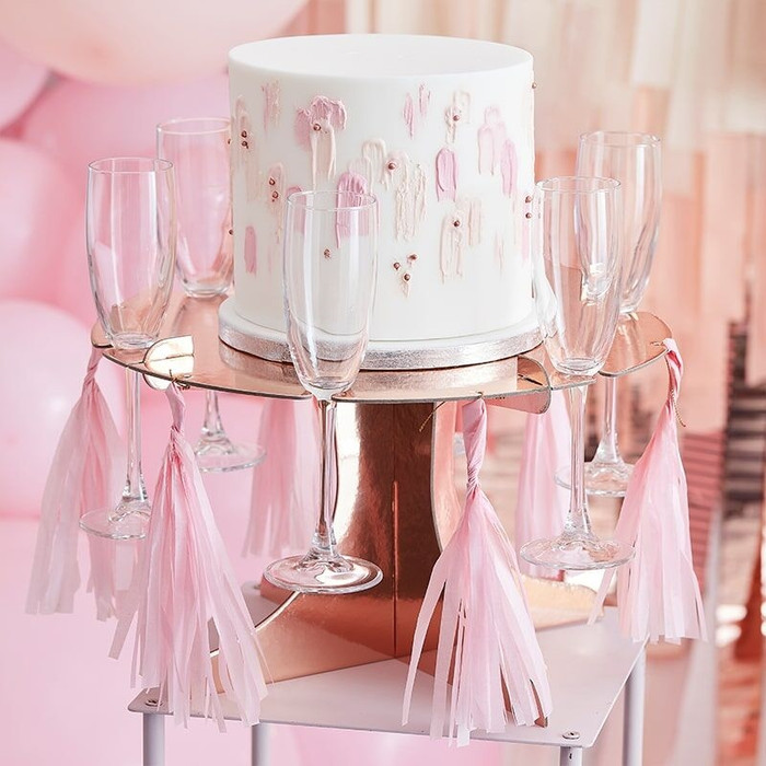 Rose Gold Cake Stand with Drinks Holders