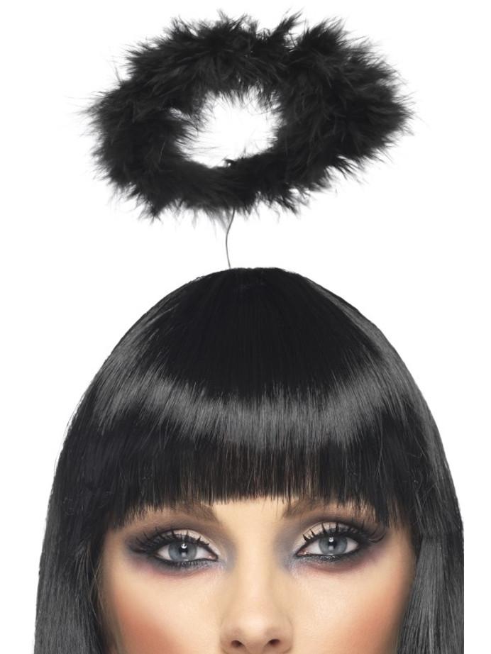 Marabou Angels Halo, Black, on Headband