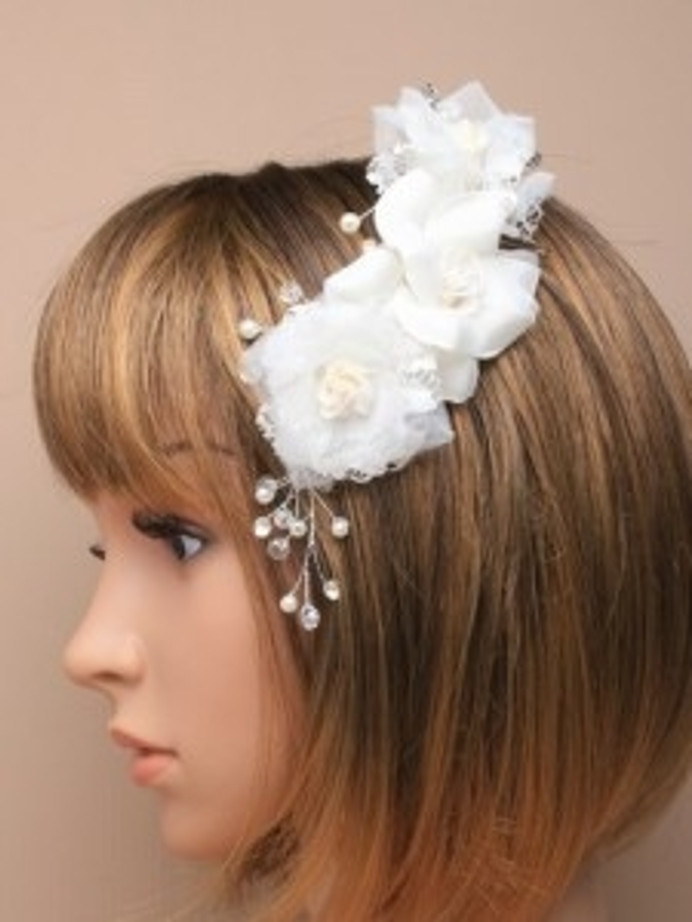 White Fabric Layered Flowers on a Silver comb