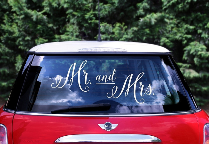 Mr & Mrs Car Stickers