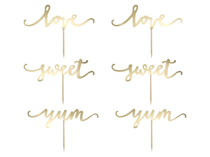 Cupcake Toppers Love, Gold 6 pcs
