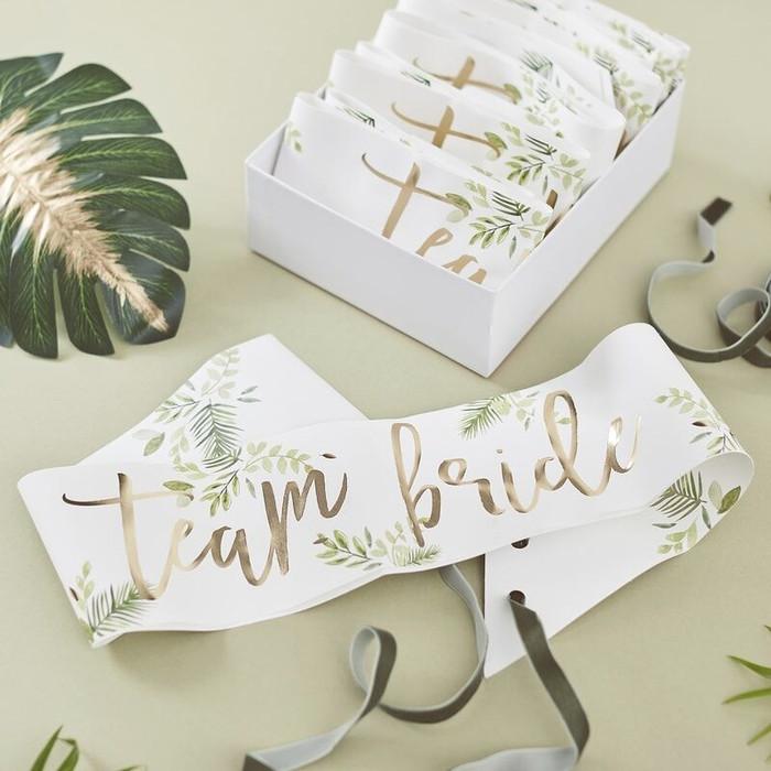 Gold Foiled -Team Bride Sashes - 6 Pack
