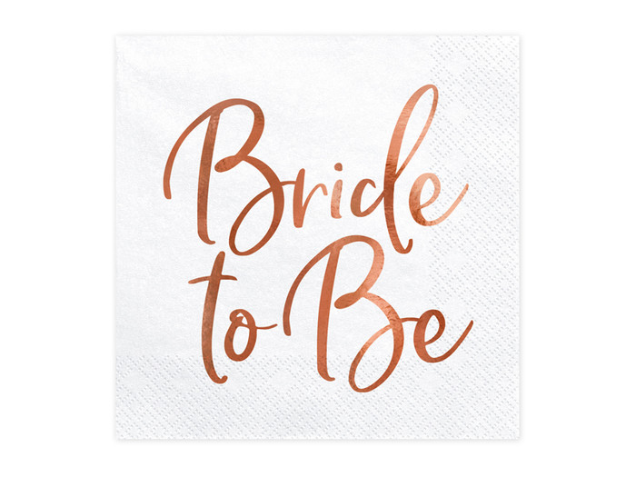 Bride to be, White & Rose Gold Hen Party Napkins, 20 per pack