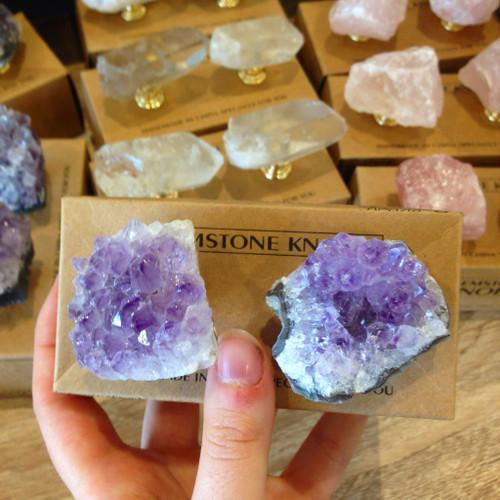 Crystal Door Knobs - Amethyst