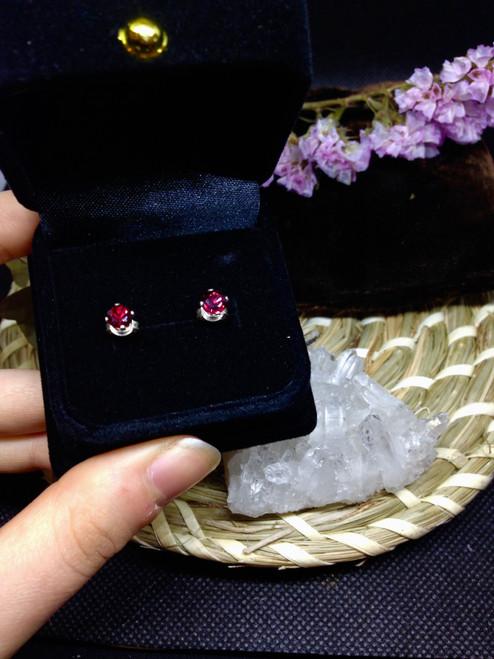 Austalian Garnet - Sterling Silver Stud Earrings