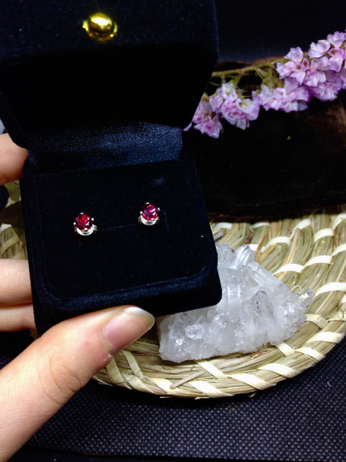 Austalian Garnet - Sterling Silver Stud Earrings