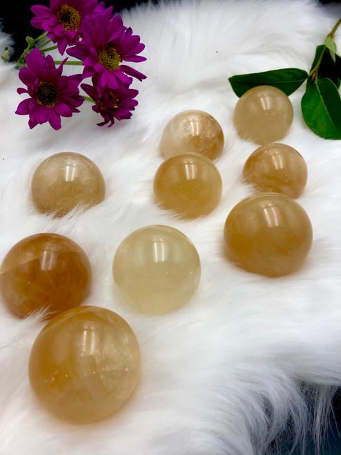 Honey Calcite Spheres