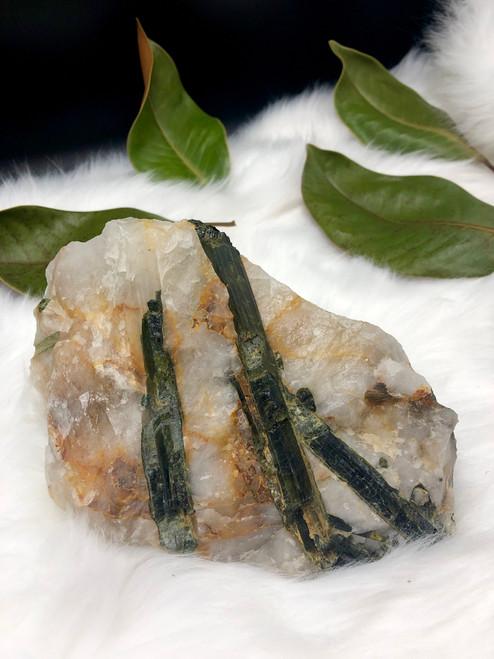 Green Tourmaline with golden healer