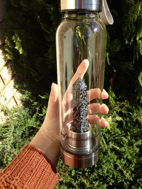 Crystal Elixir Water Bottle - Snowflake Obsidian