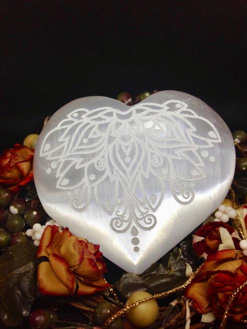 Engraved Selenite Heart